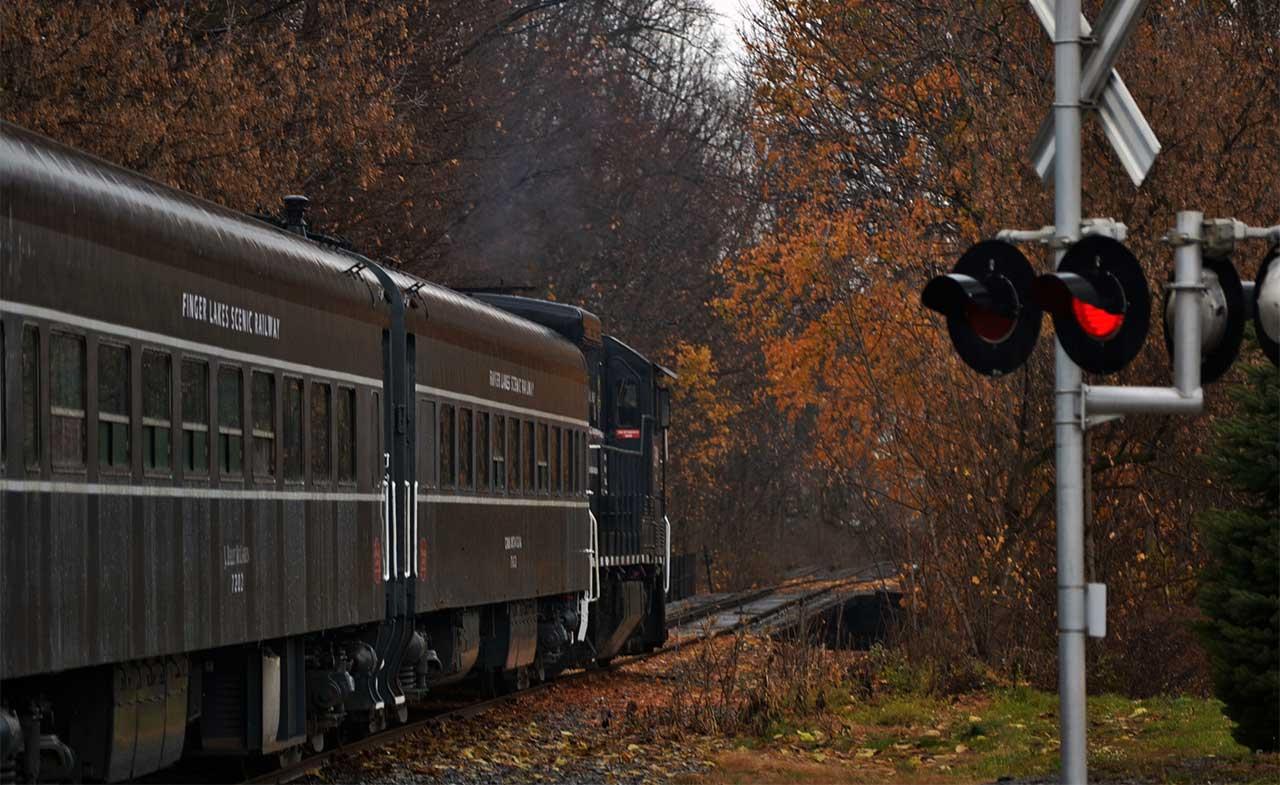 Departing Shortsville on the Finger Lakes Railway